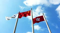 Chinese national flag - stock footage