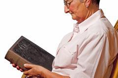 Grandma with bible Stock Photos