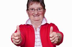 Pensioner with thumbs up Stock Photos