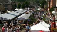 Stock Video Footage of A view of the Ludlow town square during the 2012 Food Festival
