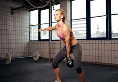 kettlebell workout - stock photo