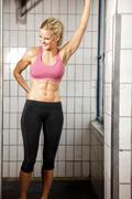 happy fitness woman in gym - stock photo