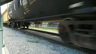 Stock Video Footage of Low Angle Close Up Freight Train