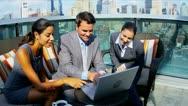 Achievement of diverse manager team working on portfolio online computer   Stock Footage