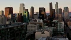 LA downtown skyline pan Stock Footage