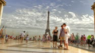 Eiffel Tower With People - Time Lapse Stock Footage
