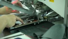 Production of jackets sewing-machine Stock Footage