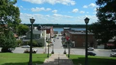 Downtown Cape Girardeau, Mo from Courthouse Stairs - stock footage