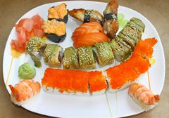 Japanese sushi set - stock photo