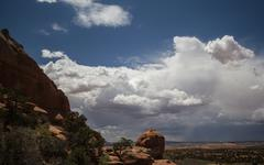 A monsoon storm on the horizon in the desert. Stock Photos