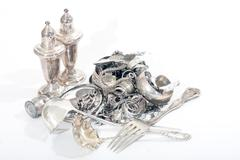 Sterling silver scrap Stock Photos