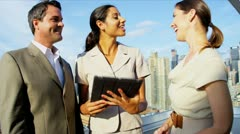 Business success on diverse managers using tablet ending handshake  Stock Footage