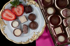 Chocolate on plate with strawberry Stock Photos