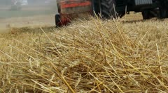 Agricultural baler machine in the field Stock Footage