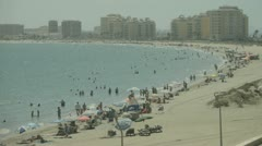 Busy Spanish Beach Timelapse Stock Footage