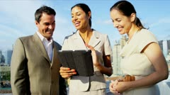 Diverse managers making profit on market using online technology outdoor   - stock footage