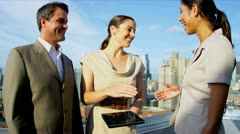 Handshake on business meeting diverse management team using touch screen  Stock Footage