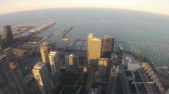 ChicagoSkylinesBirdsEye - stock footage