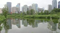 Calgary skyline reflection day Stock Footage