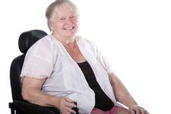 Senior woman in wheel chair Stock Photos