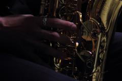 Saxophone fingering Stock Photos