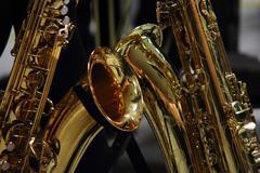 Two saxophones Stock Photos