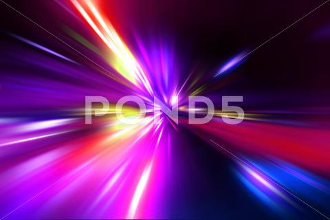 Stock photo of speed motion on night road