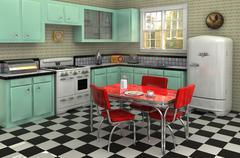 1950's kitchen - stock illustration
