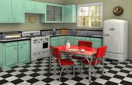 Stock Illustration of 1950's kitchen