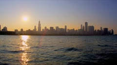 Low level view Chicago City, sunset, Chicago, USA - stock footage