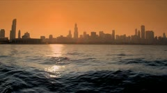 Sunset over Lake Michigan Chicago City,  USA Stock Footage