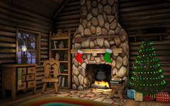 christmas cabin interior - stock illustration