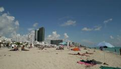 Miami South Beach in Florida people bathing 30p - stock footage