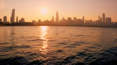 Setting sun Lake Michigan, Chicago, USA - stock footage