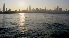 Sunset over Lake Michigan Chicago City, USA - stock footage