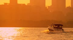 Cruiser on Lake Michigan at sunset, Chicago, USA Stock Footage