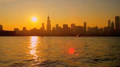 Stock Video Footage of Sunset view Sears Tower Chicago, USA