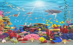 underwater paradise - stock illustration