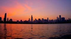 Sunset view Chicago skyline, USA - stock footage