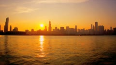 Time lapse sunset view Chicago skyline, USA Stock Footage