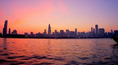 Nautical vessel Lake Michigan at sunset Chicago, USA - stock footage