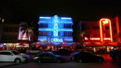 Miami South Beach Ocean Drive at night wide pan 30p Stock Footage