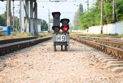 Red semaphore on railway Stock Photos
