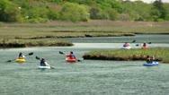 Scorton Creek kayak adventure Sandwich Cape Cod; 4 Stock Footage
