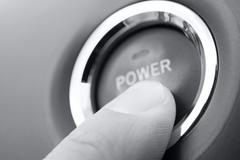 Push power button Stock Photos