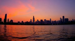 Red glow at sunset, Chicago skyline, USA - stock footage