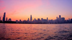 Time lapse cityscape, Chicago sunset, USA - stock footage