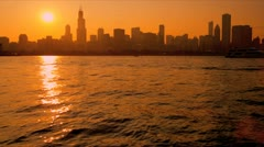 Stock Video Footage of Vibrant sunset view Sears Tower Chicago, USA