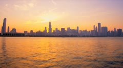 Time lapse sunset view Chicago skyline, USA - stock footage