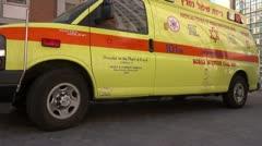 Hospital entrance emergency ambulance Stock Footage